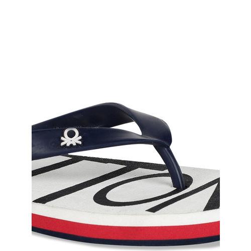 United Colors of Benetton Men White & Black Printed Thong Flip-Flops