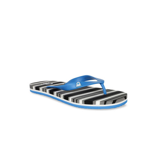 United Colors of Benetton Men Black & Blue Striped Thong Flip-Flops