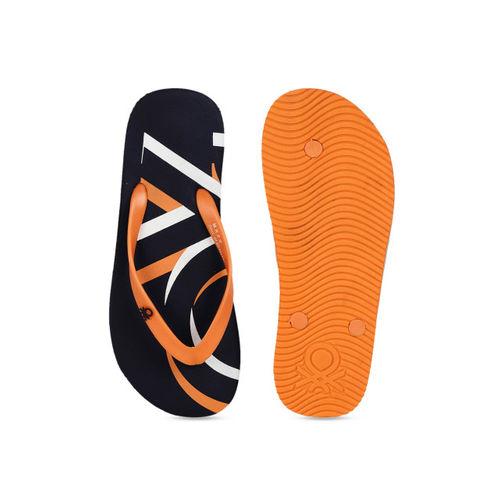 United Colors of Benetton Men Navy Blue & Orange Printed Thong Flip-Flops