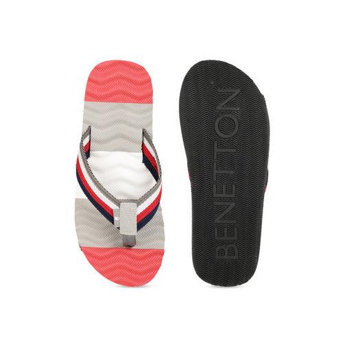 United Colors of Benetton Men Red & Grey Colourblocked Thong Flip-Flops