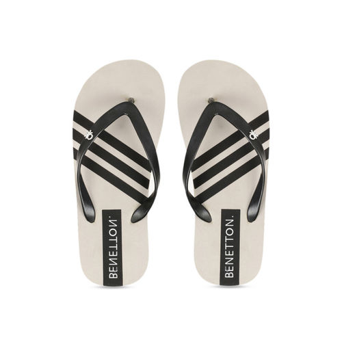 United Colors of Benetton Men Grey & Black Striped Thong Flip-Flops