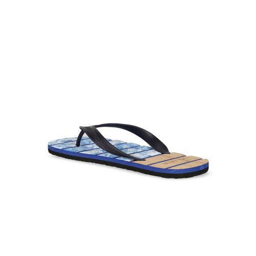 United Colors of Benetton Men Blue & Brown Printed Thong Flip-Flops