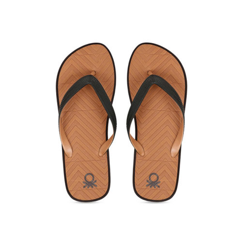 United Colors of Benetton Men Tan Brown & Black Self Design Thong Flip-Flops