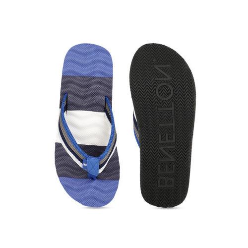 United Colors of Benetton Men Blue & White Colourblocked Thong Flip-Flops