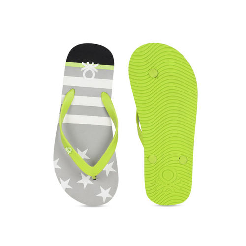United Colors of Benetton Men Grey & White Printed Thong Flip-Flops