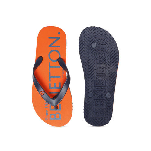 United Colors of Benetton Men Orange & Black Printed Thong Flip-Flops