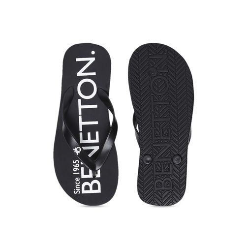 United Colors of Benetton Men Black Printed Thong Flip-Flops