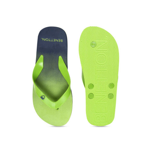 United Colors of Benetton Men Lime Green & Navy Blue Colourblocked Thong Flip-Flops