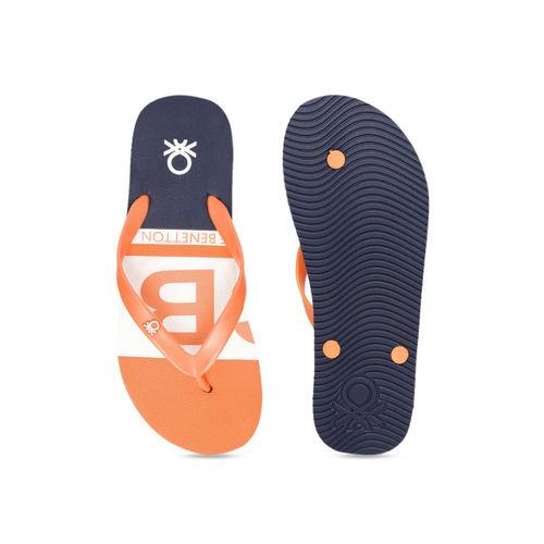 United Colors of Benetton Men Orange & Navy Blue Printed Thong Flip-Flops