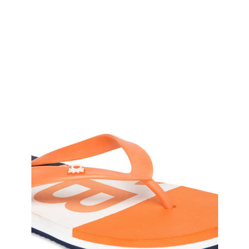 United Colors of Benetton Men Orange & Navy Blue Printed Thong Flip-Flops