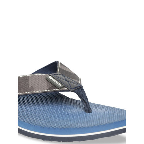 United Colors of Benetton Men Blue Printed Thong Flip-Flops