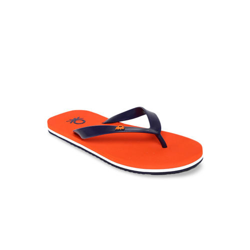 United Colors of Benetton Men Blue & Orange Solid Thong Flip-Flops