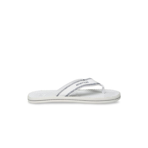 United Colors of Benetton Men White Printed Thong Flip-Flops