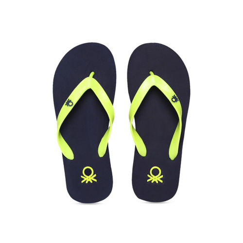 United Colors of Benetton Men Lime Green & Navy Blue Solid Thong Flip-Flops