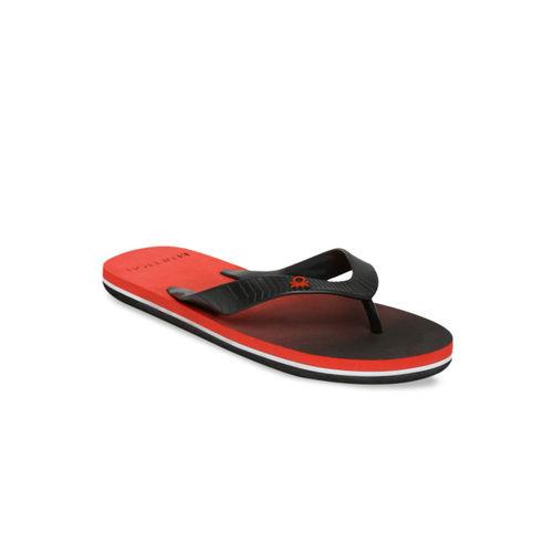 United Colors of Benetton Men Black & Red Colourblocked Thong Flip-Flops