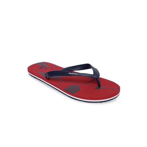 United Colors of Benetton Men Red Printed Thong Flip-Flops