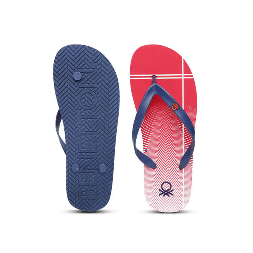 United Colors of Benetton Men Red & Navy Blue Printed Thong Flip-Flops