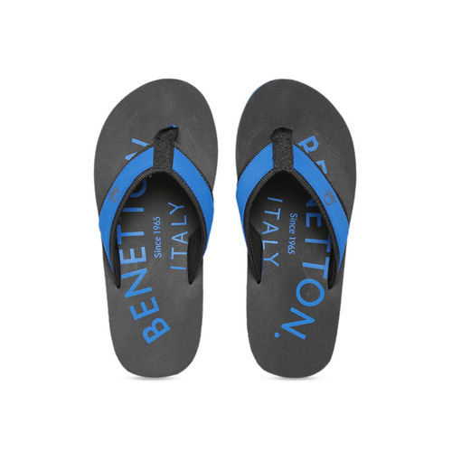 United Colors of Benetton Men Grey & Blue Printed Thong Flip-Flops