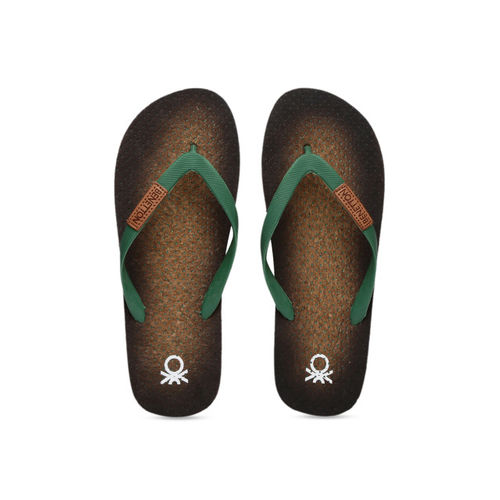United Colors of Benetton Men Green Printed Thong Flip-Flops