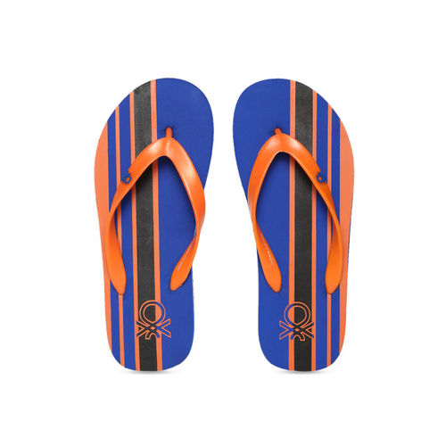 United Colors of Benetton Men Blue & Orange Striped Thong Flip-Flops