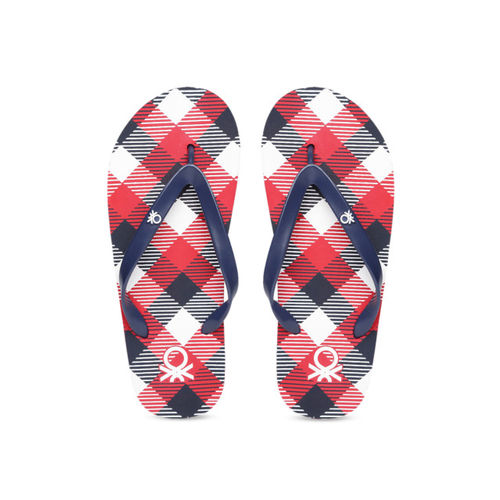 United Colors of Benetton Men Navy Blue & Red Printed Thong Flip-Flops