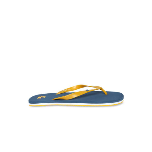 United Colors of Benetton Men Yellow & Blue Solid Thong Flip-Flops