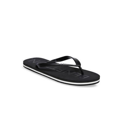 United Colors of Benetton Men Black Printed Thong Flip-Flops