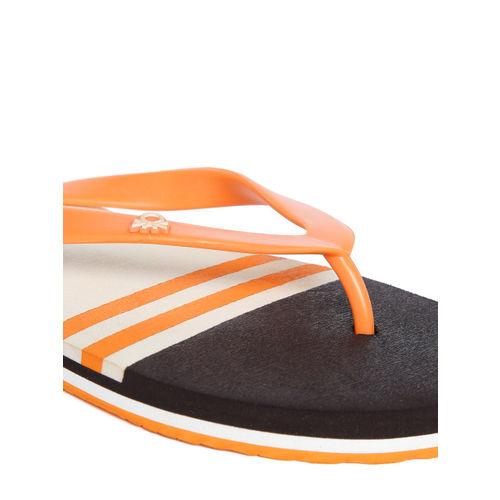 United Colors of Benetton Men Orange & Coffee Brown Striped Thong Flip-Flops