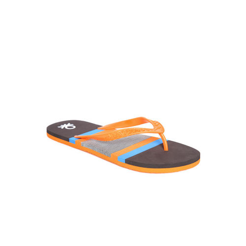 United Colors of Benetton Men Orange & Coffee Brown Striped Thong Flip-Flops