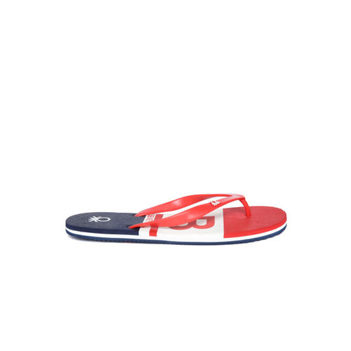 United Colors of Benetton Men Red & Navy Printed Thong Flip-Flops