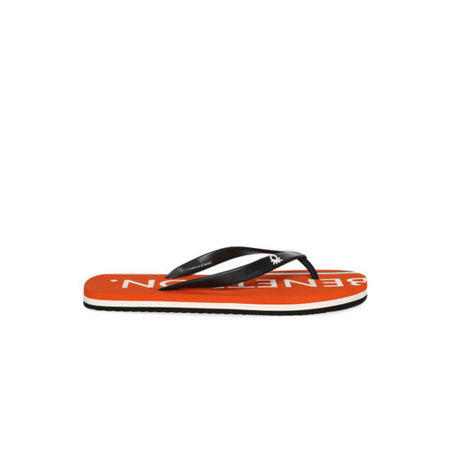 United Colors of Benetton Men Black & Orange Printed Flip-Flops