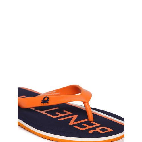 United Colors of Benetton Men Orange & Navy Printed Flip-Flops