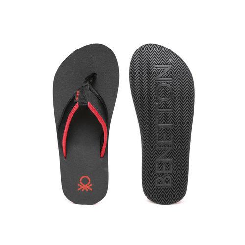 United Colors of Benetton Men Black & Red Flip-Flops