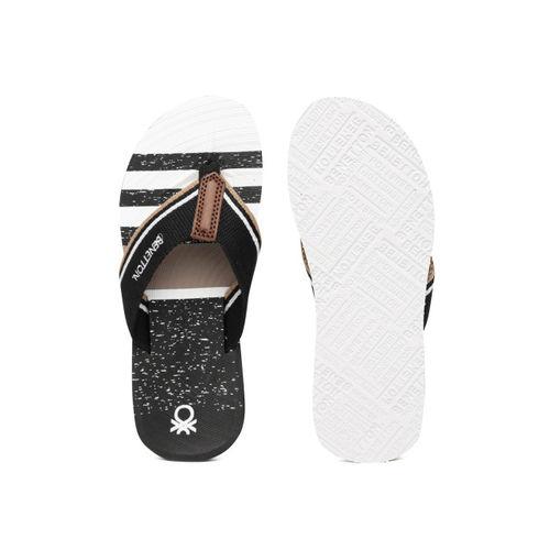 United Colors of Benetton Men Black & White Striped Flip-Flops