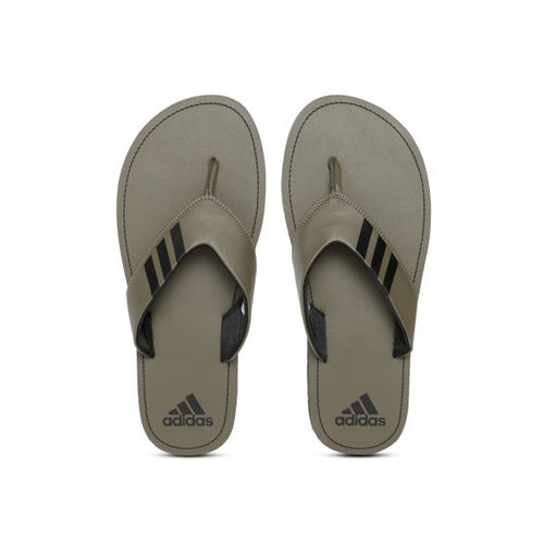 ADIDAS Men Olive Green & Black COSET 2018 Solid Thong Flip-Flops with Striped Detail