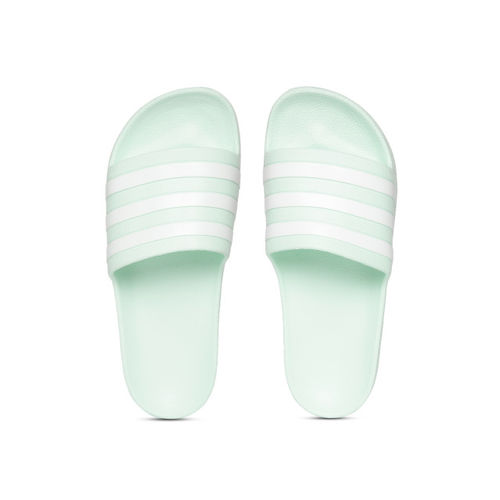 ADIDAS Unisex Mint Green & White Adilette Aqua Striped Sliders