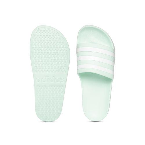 ADIDAS Unisex Mint Green & White Adilette Aqua Striped Sliders