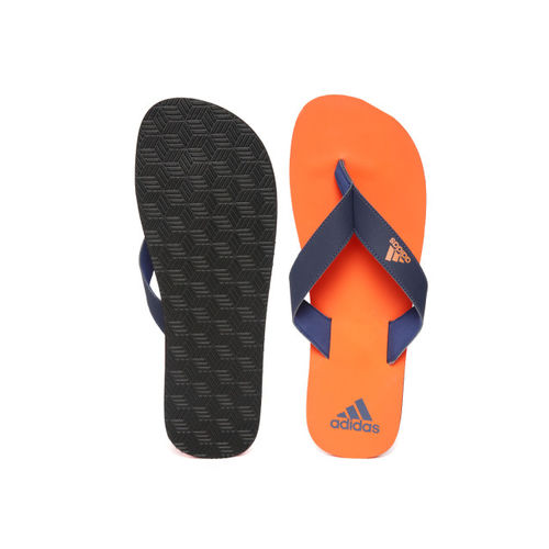 ADIDAS Men Navy Blue & Orange EEZAY Maxout Solid Thong Flip-Flops