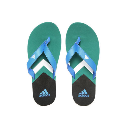 ADIDAS Men Blue & Green EEZAY Printed Thong Flip-Flops