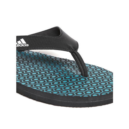 ADIDAS Men Black & Blue Beach Print Max Out Flip-Flops