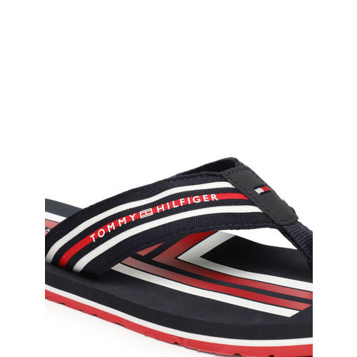 Tommy Hilfiger Men Navy Blue & White Striped Thong Flip-Flops