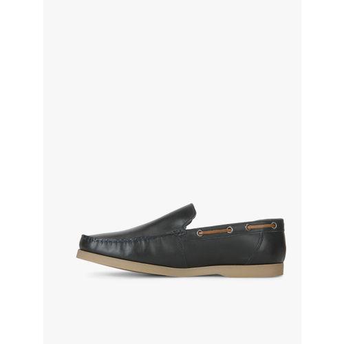 U.S. Polo Assn. Men Black Leather Boat Shoes