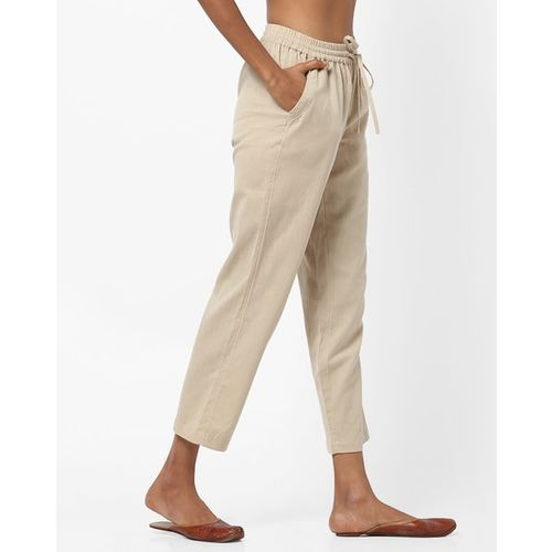 Project Eve IW Casual Mid-Rise Slim Trousers with Elasticated Drawstring Waist