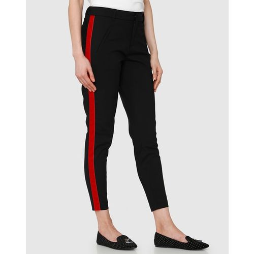 Vero Moda Cropped Flat-Front Trousers with Contrast Side Taping