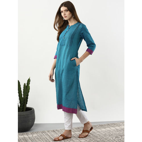 Sangria Women Blue Solid Straight Kurta