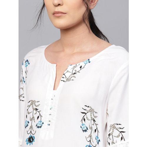 Ishin Women White & Blue Block Printed Kurta with Palazzos
