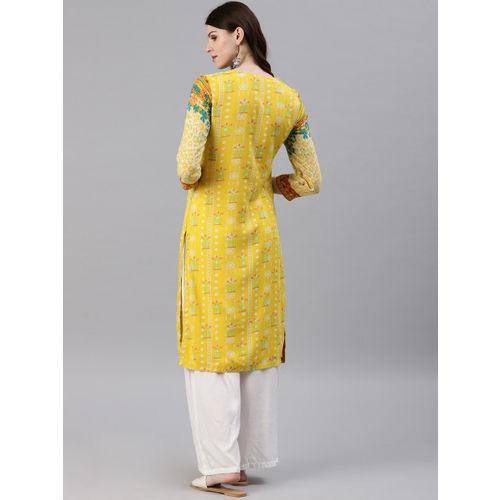 Biba Women Yellow Printed Straight Kurta