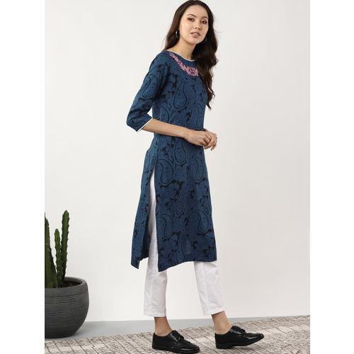 Sangria Women Blue & Black Printed Straight Kurta