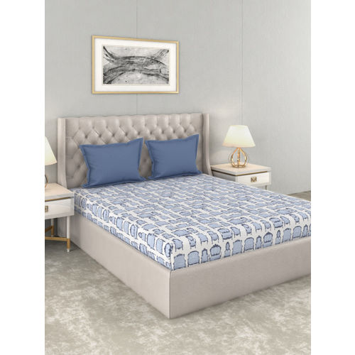 Trident Blue & Off-White Graphic 144 TC Cotton Queen Bedsheet with 2 Pillow Covers