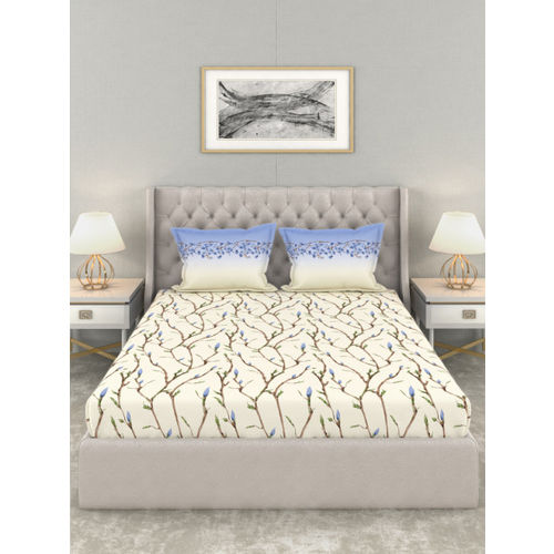 Trident Cream-Coloured & Blue Floral 144 TC Cotton 1 Queen Bedsheet with 2 Pillow Covers